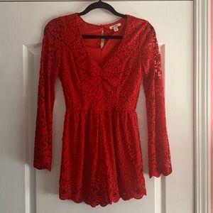 Miami red lace romper